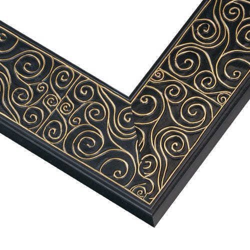 Modern Black And Gold Picture Frame With Raised Gold Swirls TL3