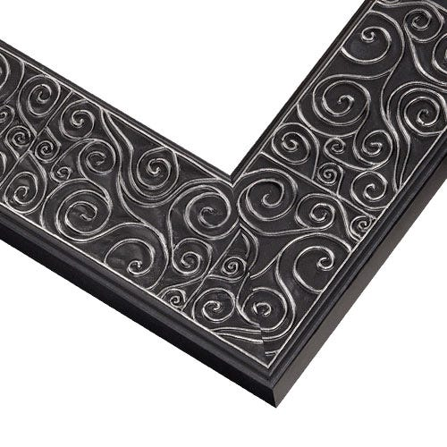 Black Wood Picture Frame with Soft Silver Swirls TL5