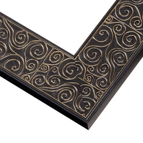 Black Wood Picture Frame with Soft Gold Swirls TL5