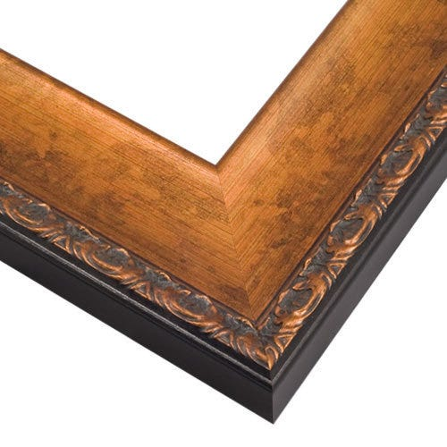 Copper Wood Picture Frame with Botanical Motif Edges and Dark Patina VN4