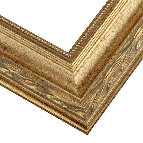 Champagne Wood Picture Frame With Antiqued Botanical Details VN7