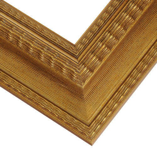 Gold Wood Picture Frame With Scooped Profile and Ripple Motif WS6