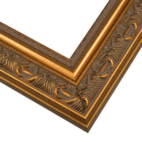 Ornate Gold Picture Frame With Gray Patina and Raised Details WS8