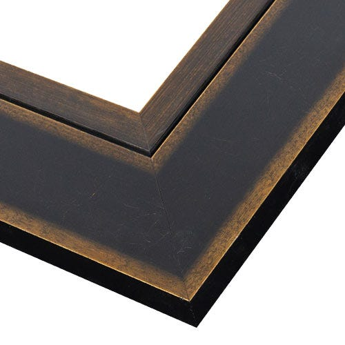 Contemporary Black Wood Picture Frame with Antiqued Gold Accents WX539.