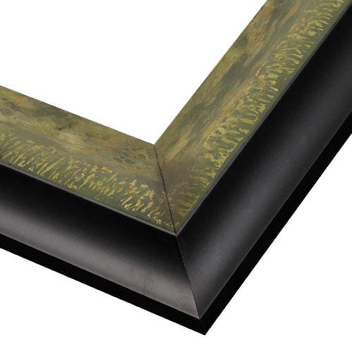Antiqued Black Wood Frame with Silver, Gold and Green WX550.