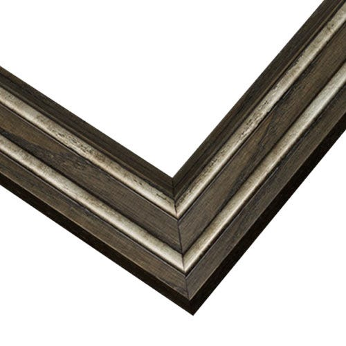 Textured Slate Gray Wood Frame with Silver Antiqued Accents WX553.