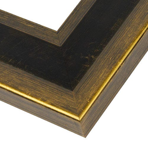 Espresso Wood Picture Frame with Gold Outer Edges WX562.