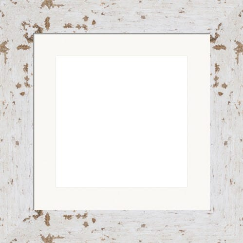 Weathered White Picture Frame With White Mat Bailey