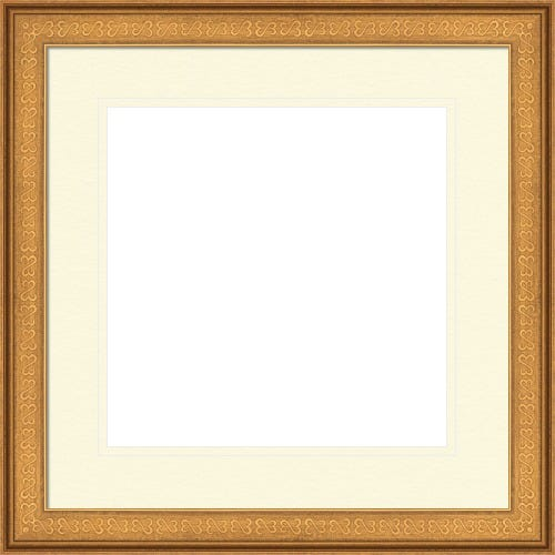Antique Gold Picture Frame With Double White Mat and Open Heart Design Calliope