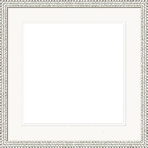 Elegant Silver Picture Frame With Studding and Double White Mats Claire