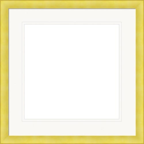Modern Yellow Picture Frame WIth Double White Mats Cybil