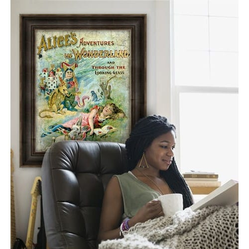 EXL2 Frame with book cover art in living room.
