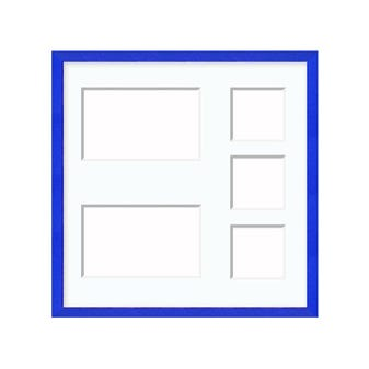 Bold Blue Collage Frame With White Collage Mat and 5 Image Openings 15FTC1212A