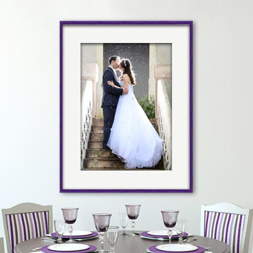 FT16 Framed wedding photograph in dining room.
