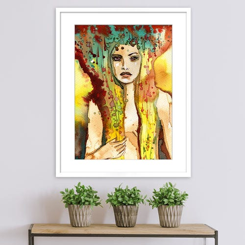 GLD2 framed watercolor paining of woman over console table.