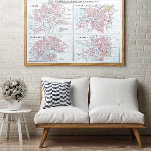 GLK4 framed posters of maps in France in living room.