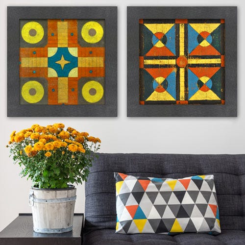 GO10 Framed geometric art over sofa.