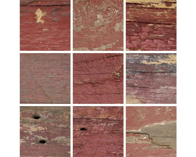 Rustic Red Reclaimed Wood Picture Frame With Fresh-Sawn Sides KBS6 Finish Swatches
