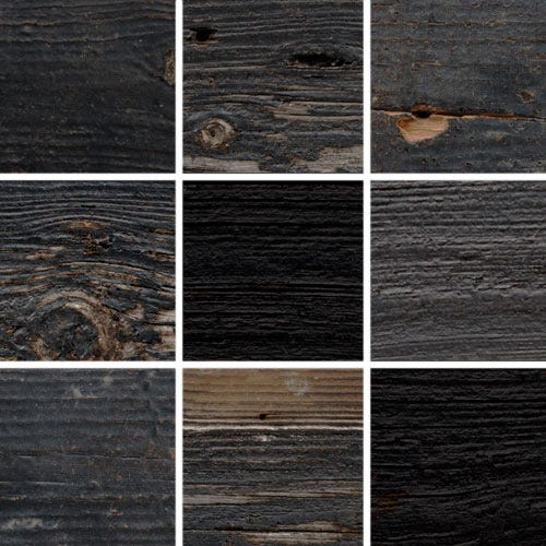 Rustic Black Frame With Fresh-Sawn Sides And Natural Weathering KBM4 FInish Swatches