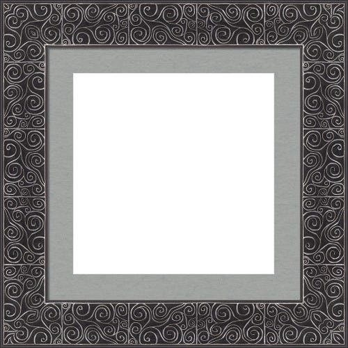 Whimsical Picture Frame With Soft Silver Swirls and Silver Gray Mat Luna