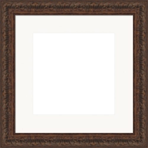 Ornate Cocoa Picture Frame With Detailing and White Mat Vincent