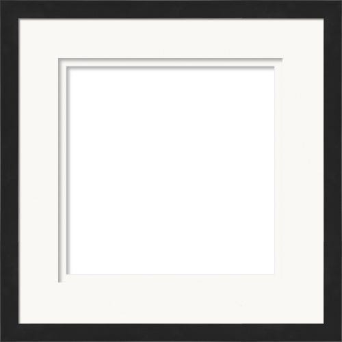 Elegant Black Picture Frame With Double Raised Mats and Reverse Bevel Escher