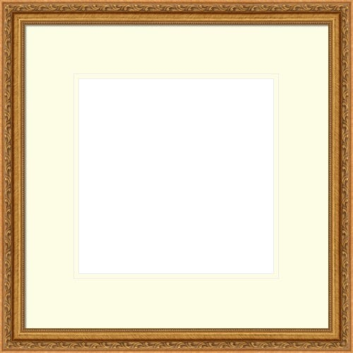 Elegant Gold Picture Frame With Beading And White And Cream Mat Rockwell