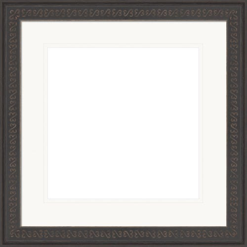Thin Espresso Picture Frame With Double White Mat and Open Heart Design Michaela