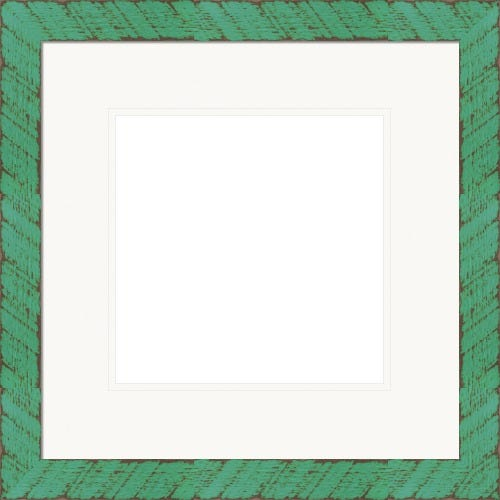Rustic Mint Green Picture Frame With Rustic Details And White Mat Minty