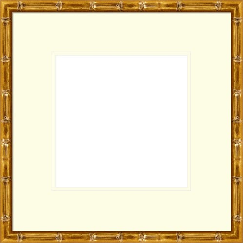 Slender Gold Picture Frame With Bamboo Motif and Cream Mat Tallulah