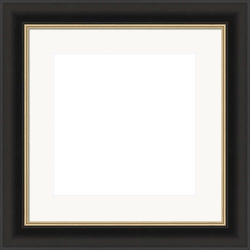 Classic Black Picture Frame WIth Gold Inner Lip And White Mat Pierre