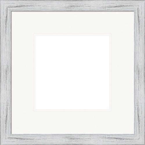 Rustic White Picture Frame With Double White Mats Sawyer
