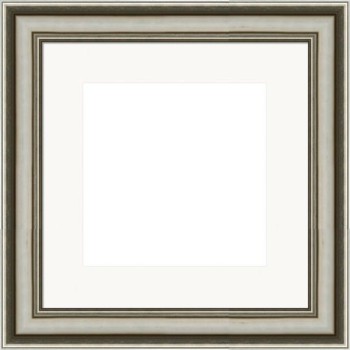 Modern Silver Picture Frame With Brushed Finish And White Mat Sally