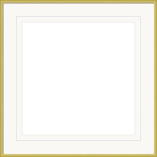 Classic Gold Picture Frame With Bright White Mat With V-Groove Accent Klimt