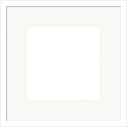 Contemporary White Picture Frame With White Double Mats Karma