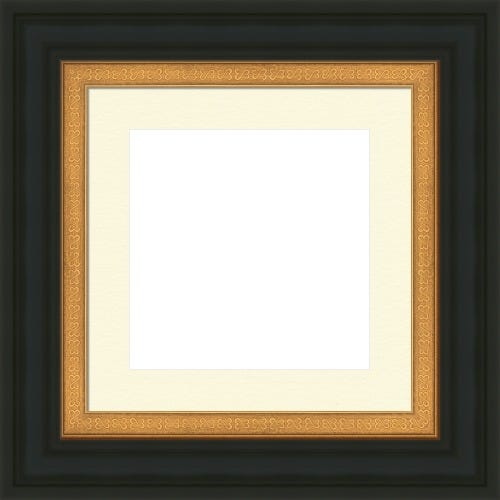 Classic Black Picture Frame With Gold Liner And Open Hearts Design Natalia