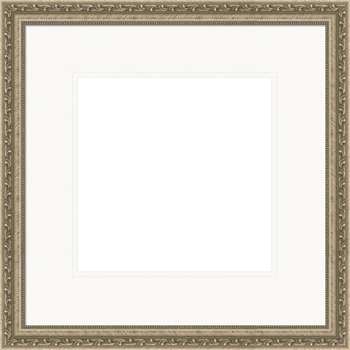 Modern Silver Picture Frame With Beading And White Mat Medici