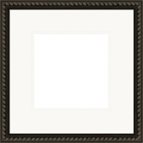 Modern Black Picture Frame With Rope Pattern And Double White Mats Veronica