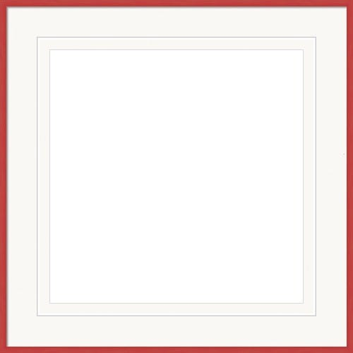 Slender Red Frame With White Mat and V-Groove Accent Mario