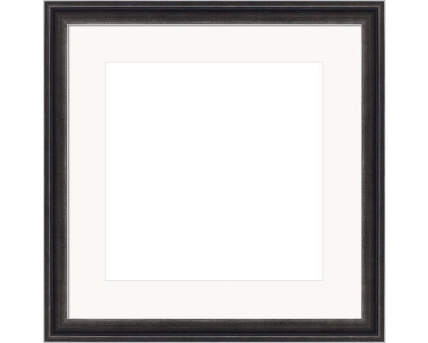 Weathered Black Picture Frame With Silver Accents And White Mat Salvador