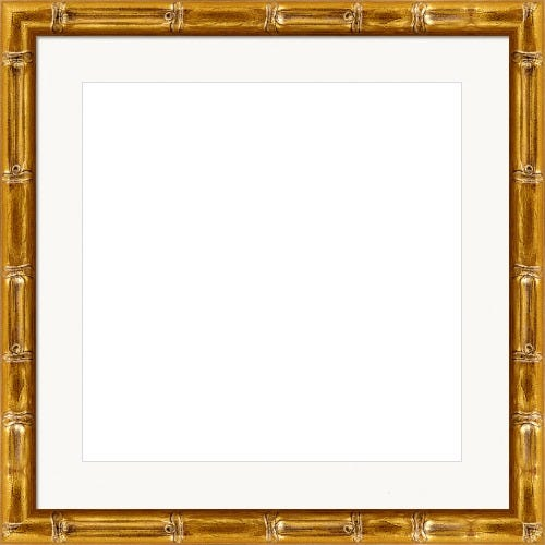 Antiqued Gold Picture Frame With Bamboo Motif And White Mat Isla