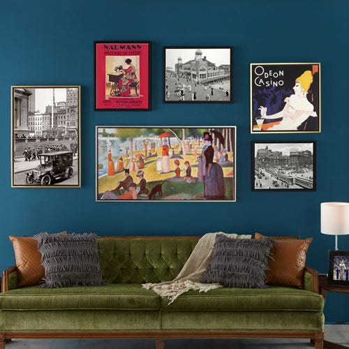 Gallery wall of canvas floater frames.
