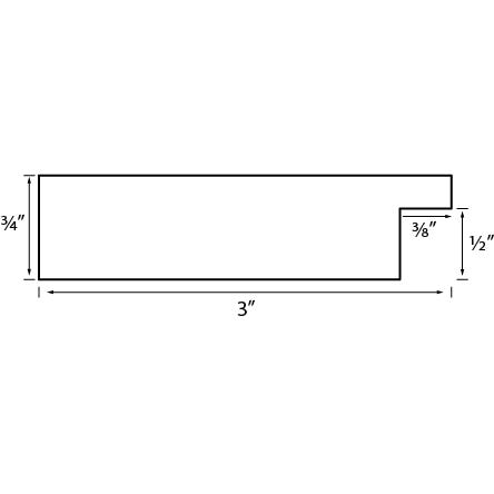 Wide Black Wood Grain Picture Frame WX632 Profile Diagram Drawing