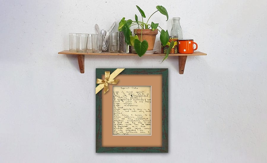 Framed Recipe in Green Rustic Frame