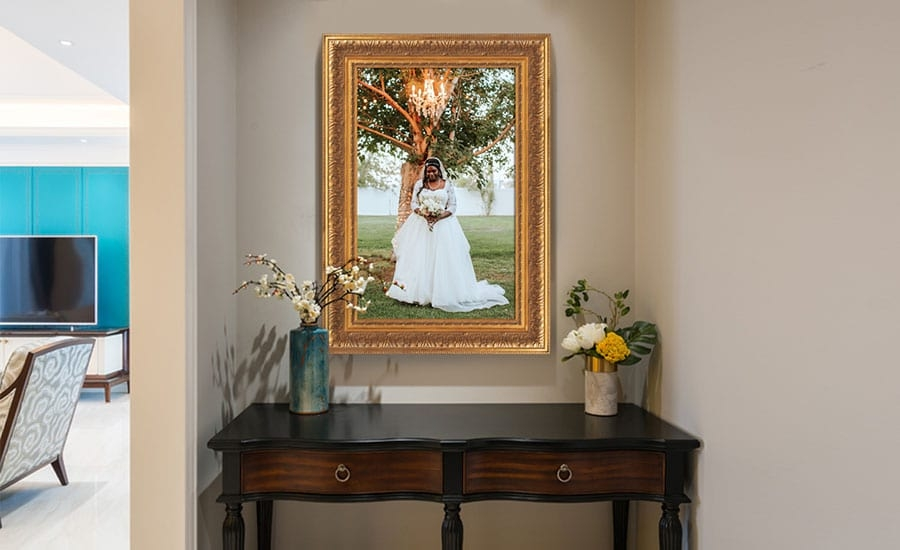 Wedding Photo in Gold Ornate Frame