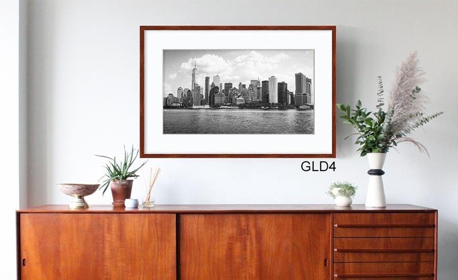 Cityscape Photo with White Mat and Brown Wood Picture Frame