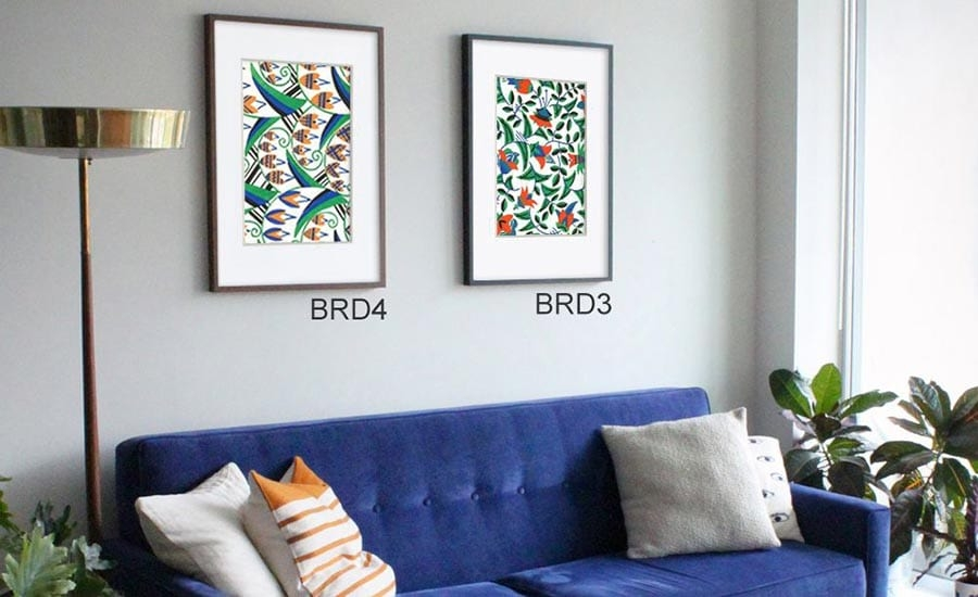 Abstract Plant Art with Mat and Frames in Living Room