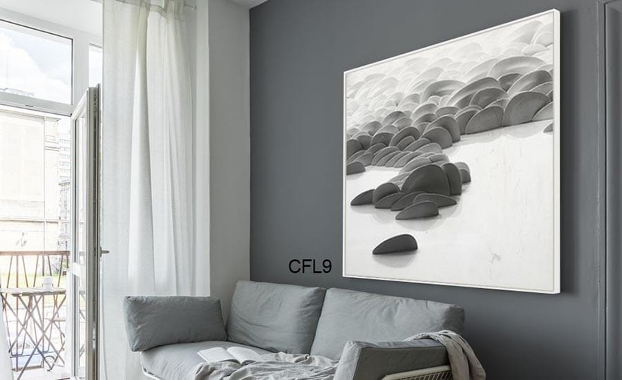 Artist Rock and Water Photo in White Frame in Living Room