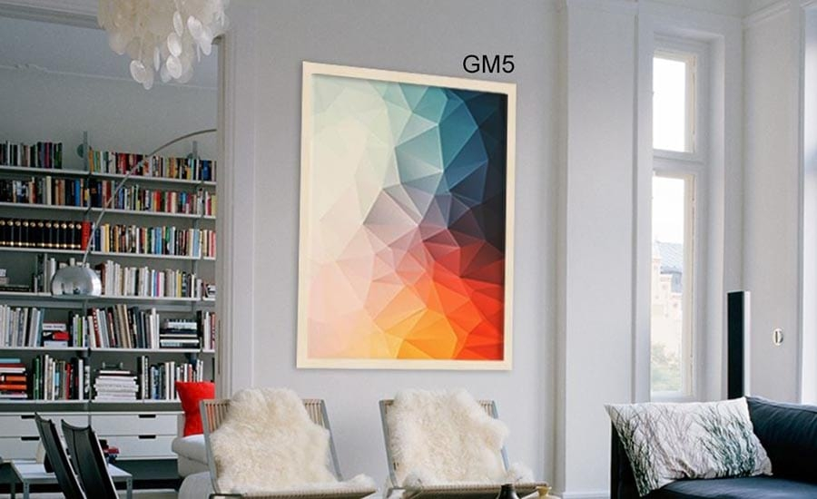 Colorful Geometric Art in White Frame