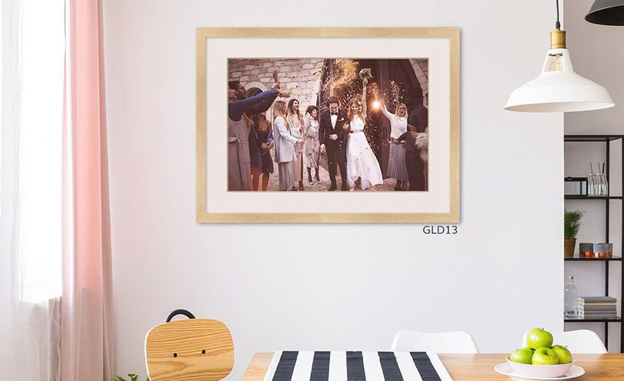 Wedding Photo in Natural Wood Frame in Dining Room